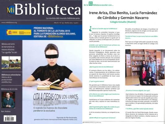"""""""Estudio"""" en Mi Biblioteca, la revista del mundo bibliotecario"""