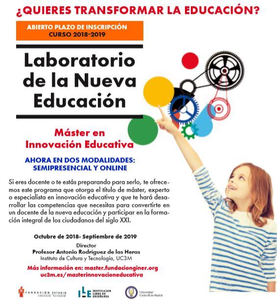 Nueva convocatoria Máster de Innovación Educativa