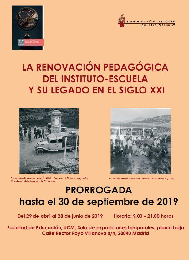 PRORROGADA Exposición: La renovación pedagógica del Instituto-Escuela y su legado en el siglo XXI