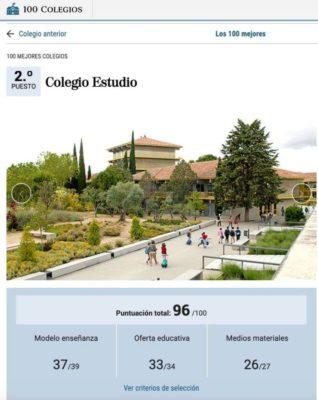 Colegio «Estudio»: Ranking 100 mejores colegios de España. Curso 2020-21.